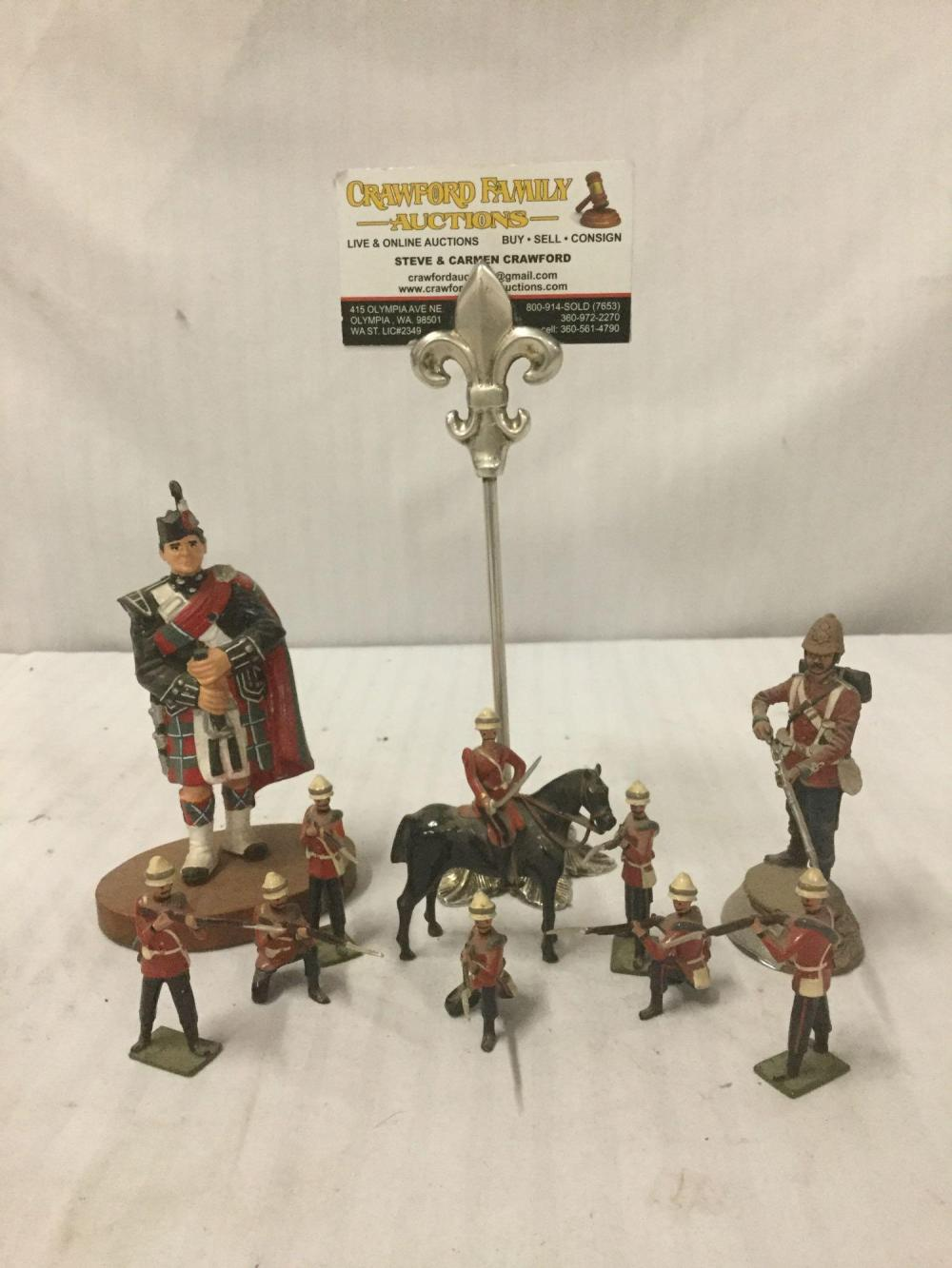 Lot 215: 10 antique painted toy soldiers- 8 are vintage Wm. Hocker Pieces, one Scottish Soldier & one British