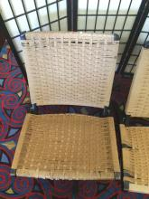 Lot 221: Pair of low vintage woven twine folding chairs