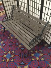 Lot 223: Vintage wrought iron and wood park bench