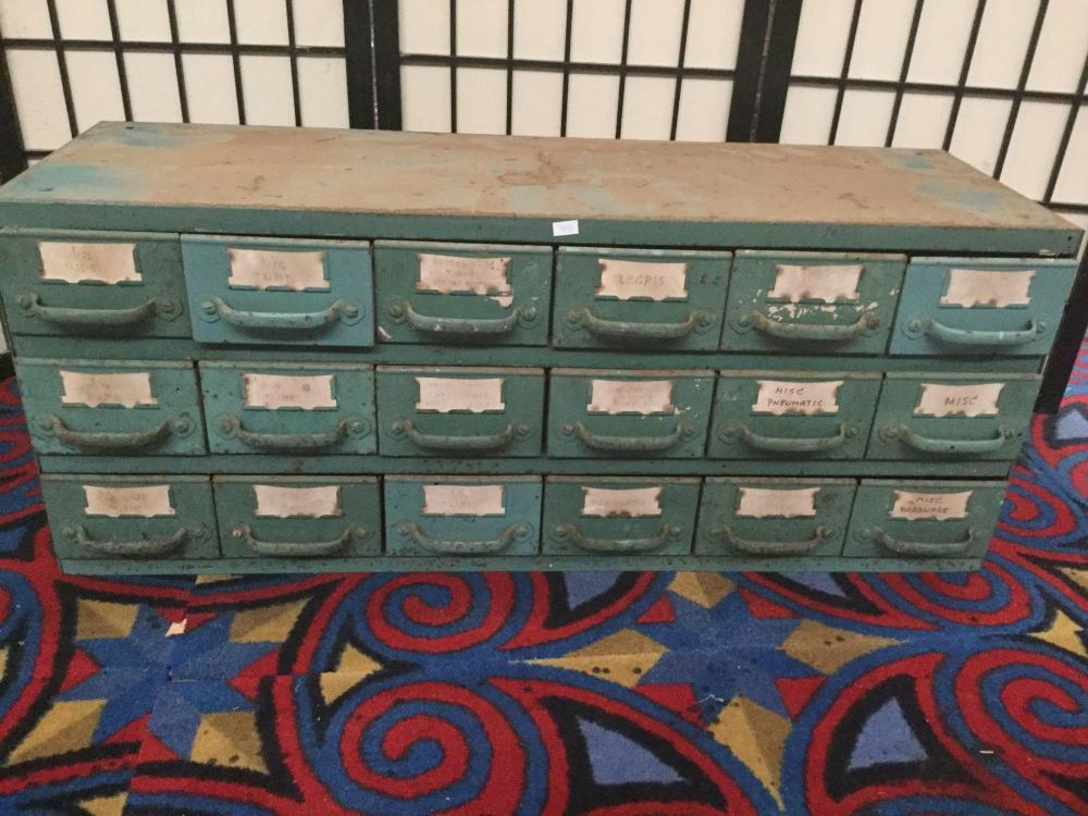 Lot 224: Vintage Equipto Metal Tool Cabinet with random shop tools and bits