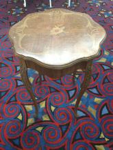 Lot 226: Antique inlay-ed Italian style night stand with wood flower patterns