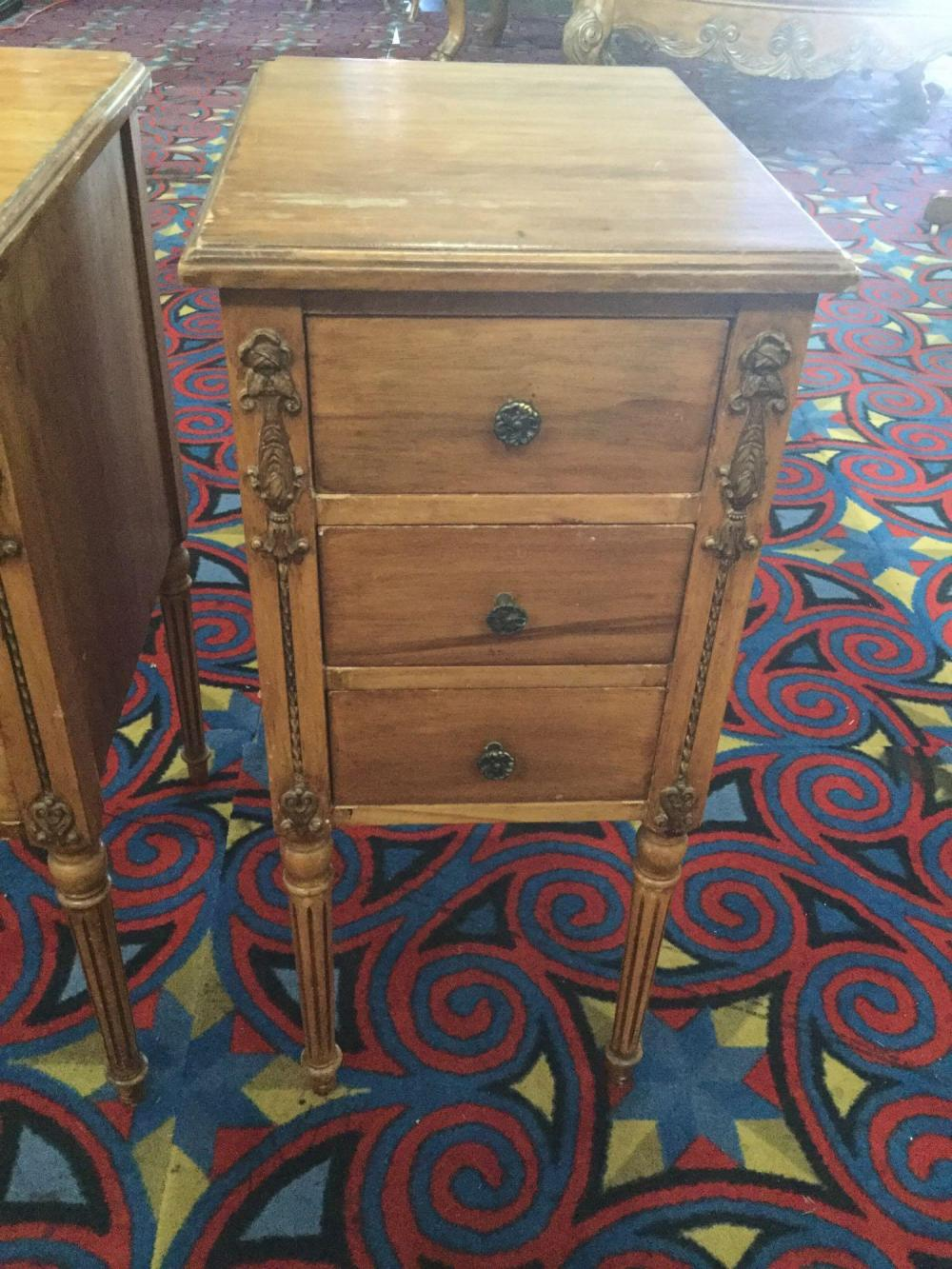 Lot 227: Pair of antique wood night stands w/ 3 drawers and detailed legs