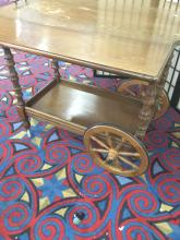 Lot 228: Vintage drop leaf side rolling tea or bar cart - as is