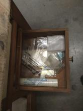 Lot 231: Large wood work table with some tools and pieces in the drawers with grease pump on top
