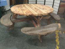 Lot 234: Large picnic table with 4 bench seats and rustic looks