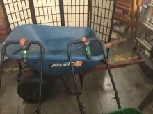 Lot 240: 2 Scott's Accugreen 3000 seed spreader and an 8 cubic feet Jackson wheelbarrow