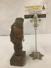 Lot 241: African hand carved wood bust of Woman with Metal necklace and earrings