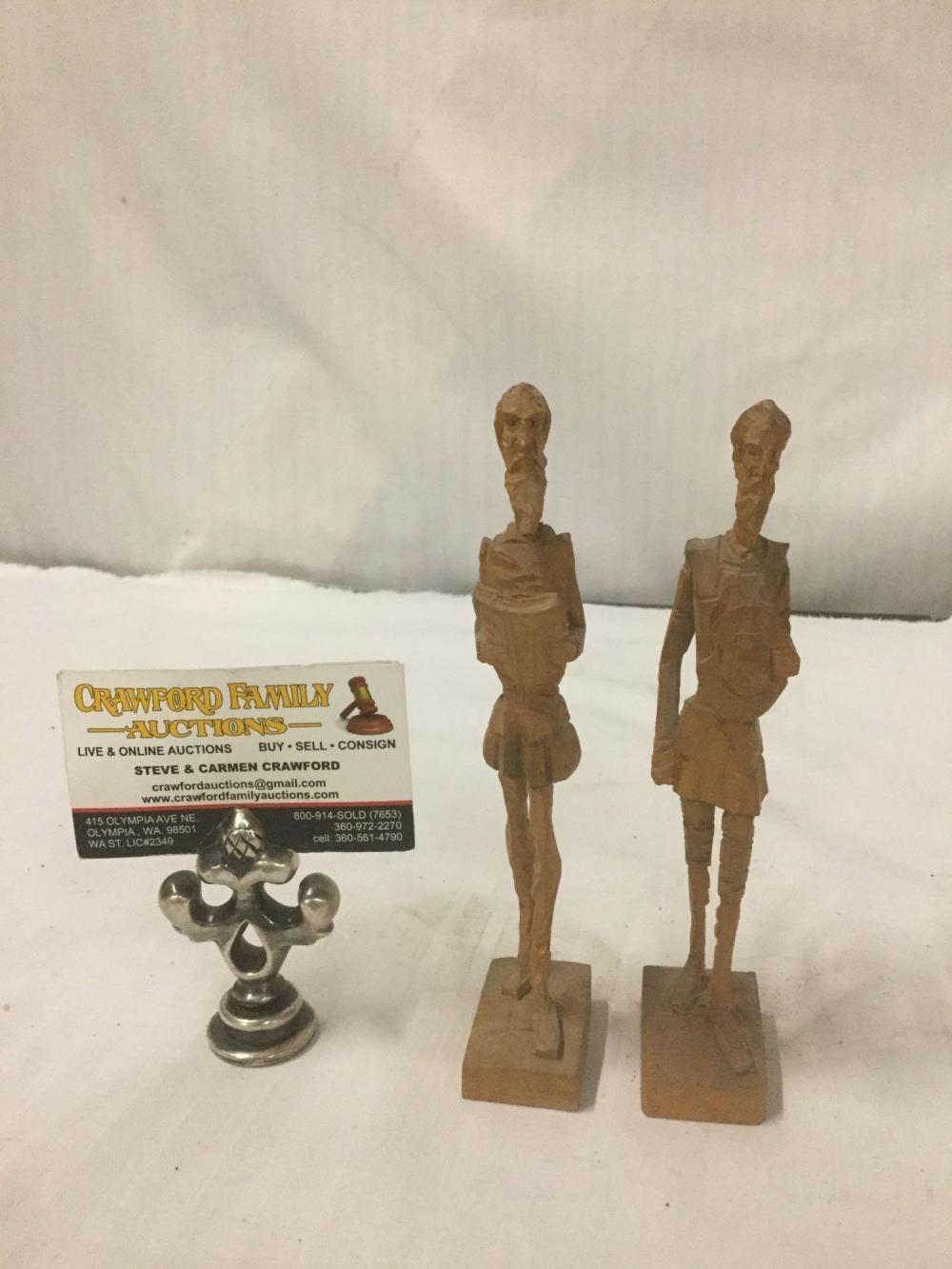Lot 244: Pair of vintage hand carved wood Spanish Don Quixote statues