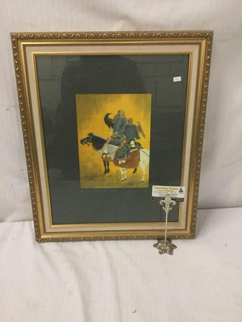 Lot 252: David Wang - Before Hunting - Print, signed and Numbered 22/750 in wood frame