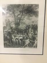 Lot 259: Gravure Print of C.G. Gleyres - The Helvetians Pass the Romans under the Yoke, the Battle of Lake