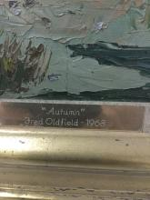 Lot 260: Original 1968 oil painting - Autumn by Washington western artist Fred Oldfield - in gold frame