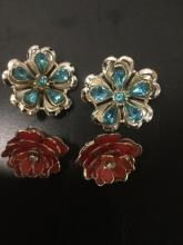 Lot 265: 7 vintage and modern estate jewelry pieces - Glasstique by Richelieu earrings, owl pendant, etc