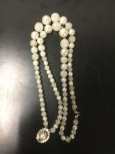 Lot 263: 9 vintage estate jewelry pcs incl. Vintage .925 silver chain, Japanese blue pearl necklace, etc see