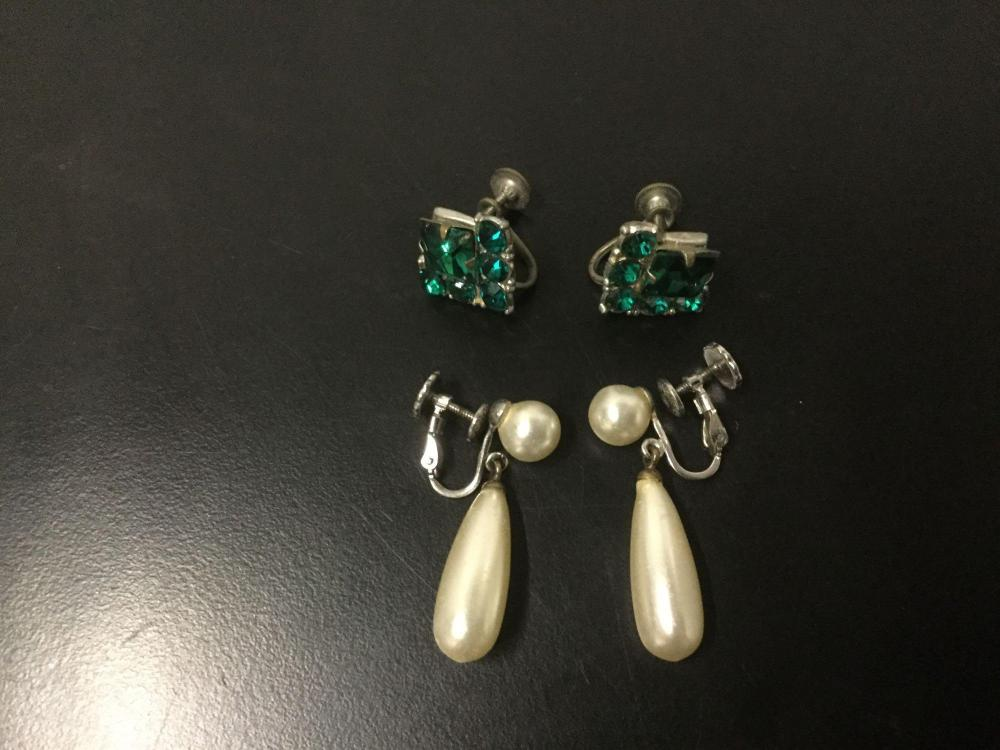 Lot 266: 12 estate jewelry pieces - Ringus screwback earrings, Monet earrings, rhinestone pcs, and more