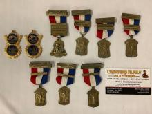 Lot 270: Lot of 9 Sportsman medals - 7x NRA 1958-1961 small bore, high power, 1st place team coach