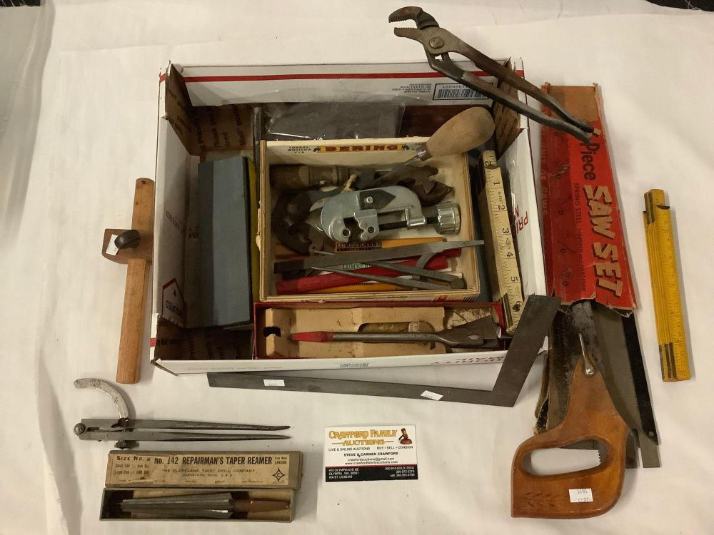 Lot 277: Lot of Vintage hand tools; WM Johnson Compass, 6 piece saw set, files, set stone