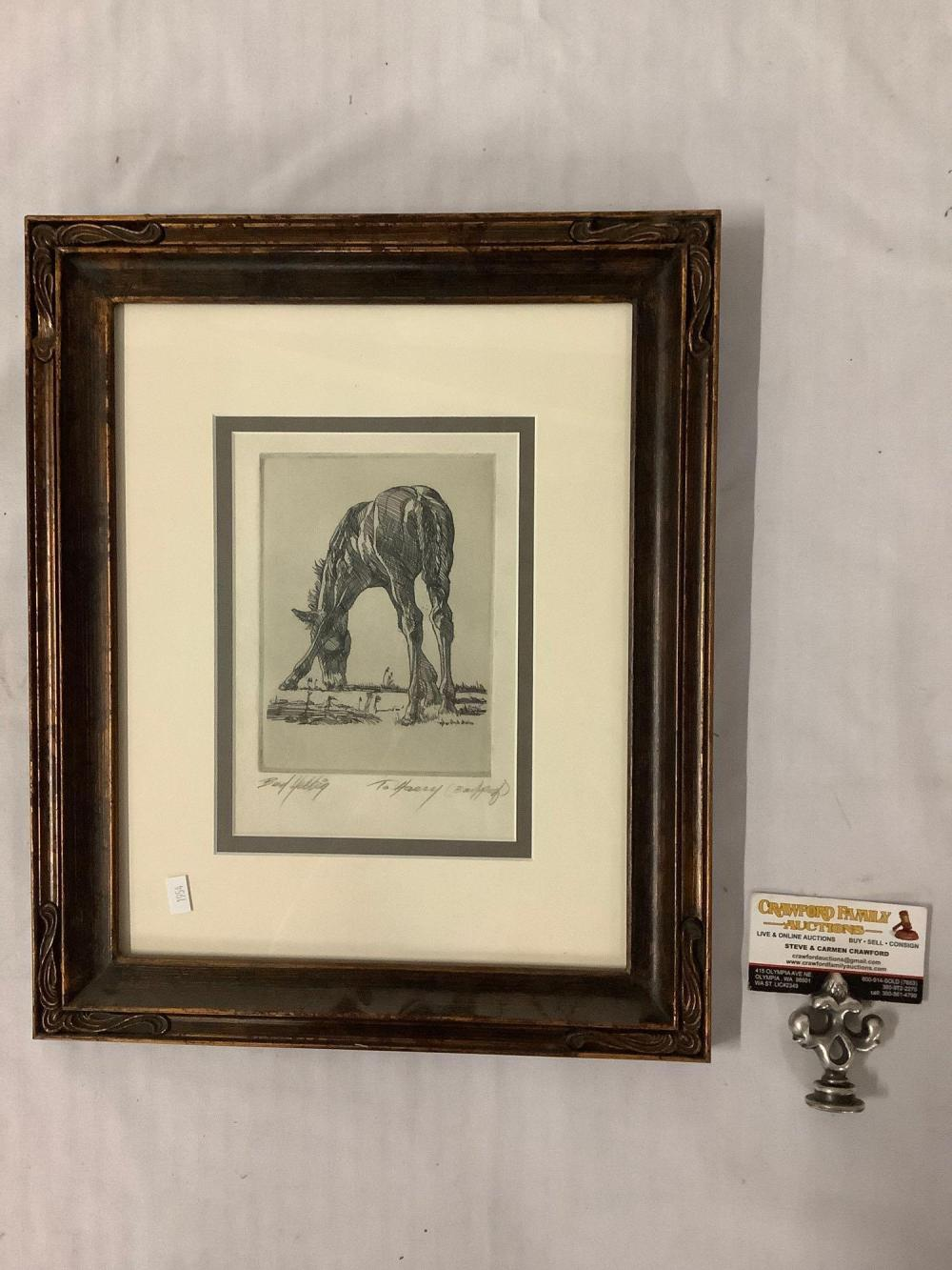Lot 288: Vintage framed block print artist proof of a drinking horse by Bud Helbig, inscribed : to Harry