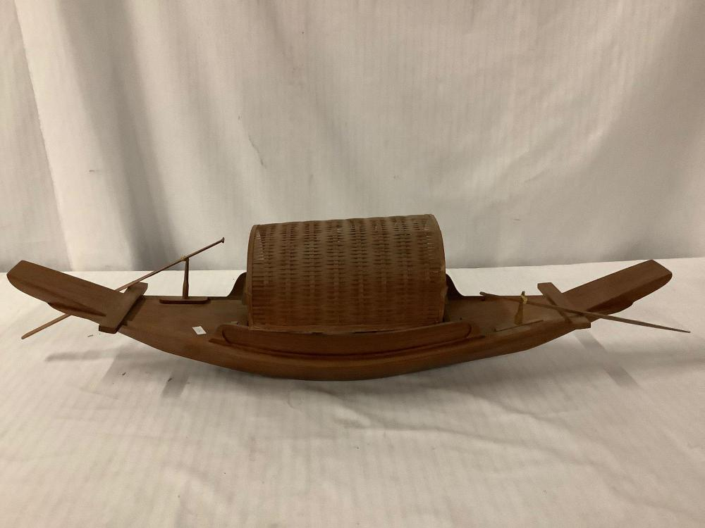 Lot 302: Vintage Asian wooden paddle boat model - as is