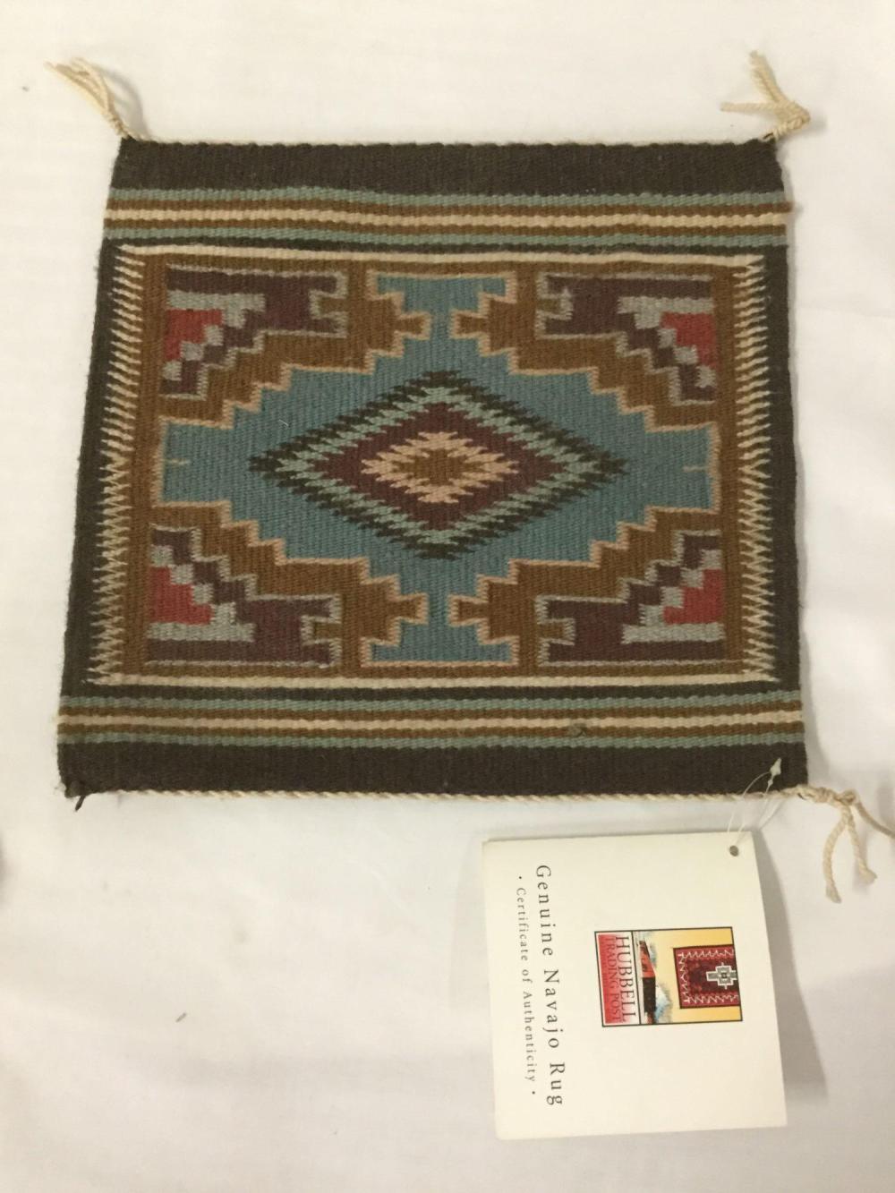 Lot 316: 2 Native American dream catcher & Genuine Navajo Rug by Delora VanWinkle w/COA