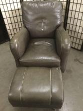 Lot 334: Hickory Chair leather arm chair and ottoman