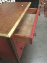 Lot 324: Vintage 3 drawer dresser with original caster and repainted design