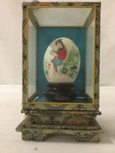 Lot 304: Lot of 3 decorative Asian egg collectibles - 2x vintage hand painted eggs with stands in small