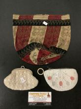 Lot 350: Lot of 3 antique ladies beaded coin purses and bag