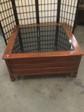 Lot 331: Vintage glass top curio display coffee table with 3 drawers in great shape