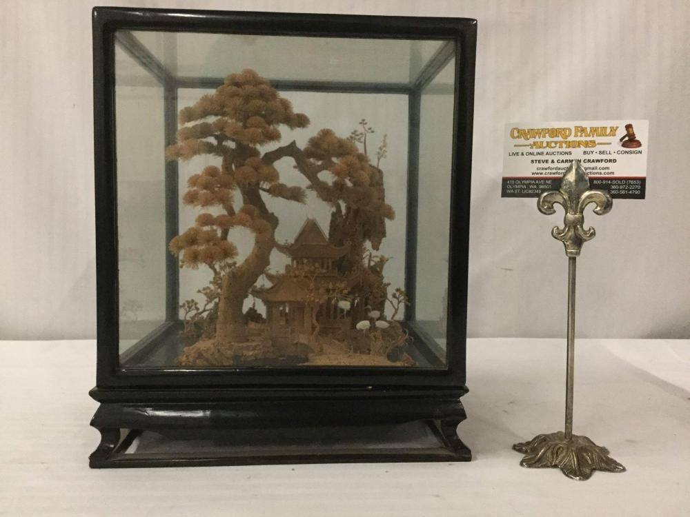 Lot 361: Antique wood and glass display case with highly detailed Chinese cork diorama artwork