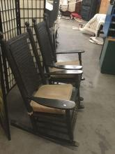Lot 329: Pair of antique rustic painted wood and wicker rocking chairs - some damage on the feet