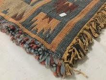 Lot 313: Lot of 2; Native American style woven rug and Dunya woven backpack with leather closures