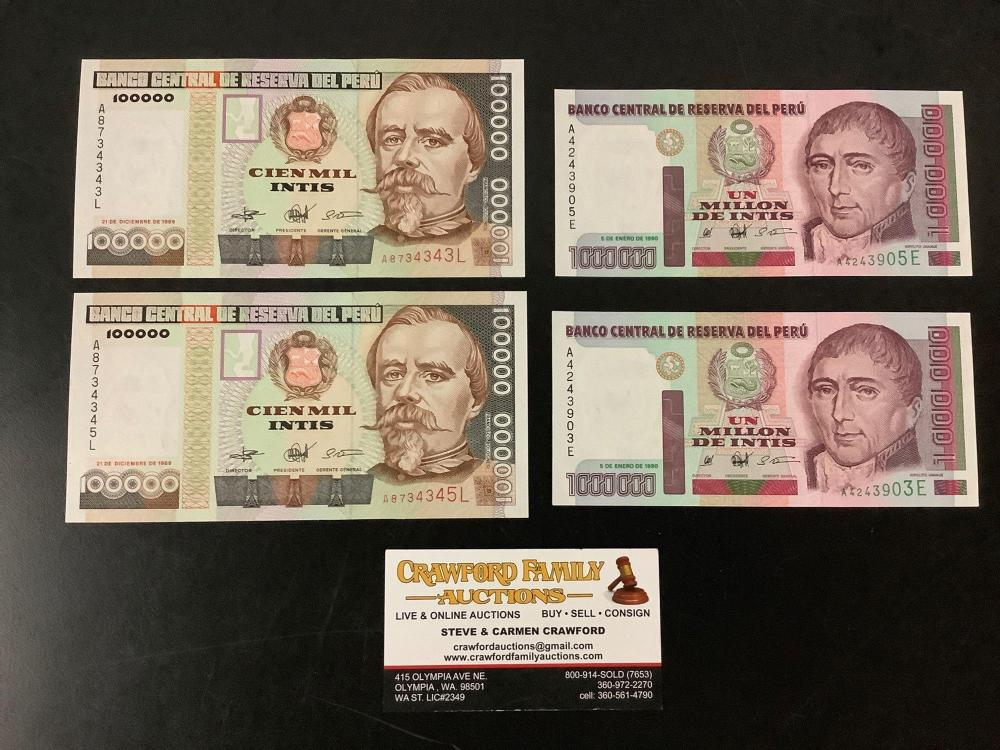 Lot 352: 4 unc Peru bank 100,000 and 1,000,000 notes (1989-90) - Banco Central De Reserve Del Peru