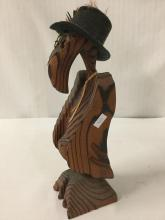 Lot 393: Anthromorphic bird art, wood carved figure with added accessories, artist unknown