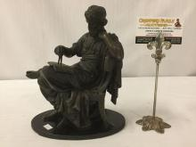Lot 360: Antique cast bronze statue of Greek figure (Thales ?) sitting with book and compass