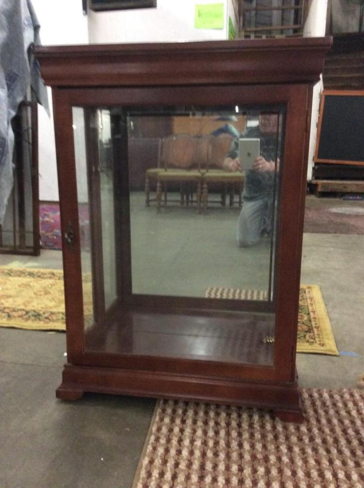 Vintage Glass And Wood Display Cabinet Missing Shelves