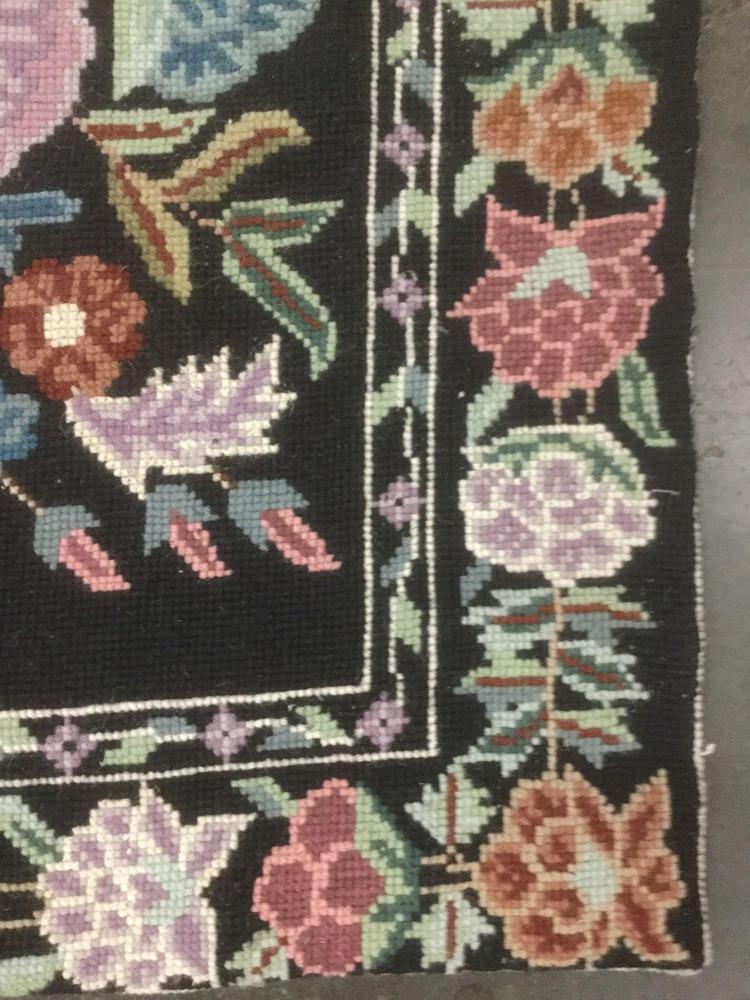 Vintage hand made indian area rug w bright floral pattern o for Bright floral area rugs