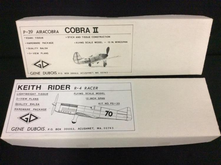 2 rubber powered balsa wood airplane kits for skilled modelers.