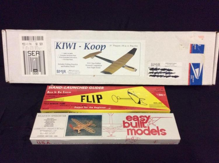3 plastic free flight model airplane kits