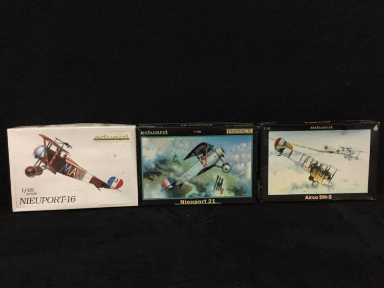 3 Eduard plastic model airplane kits includes 1 Nieuport-16 1 Nieuport 21 and 1 Airco DH-2