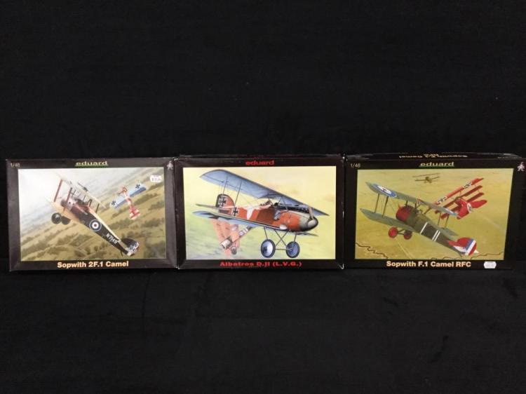 1 Sopwith F.1 Camel RFC, 1 Albatros D.11,l and 1 Sopwith 2F.1 Camel all made by Eduard