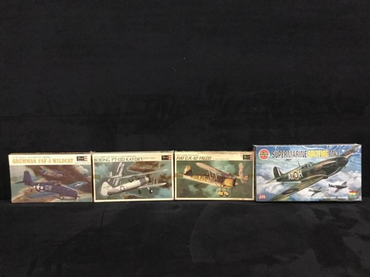 4 military fighter model airplane kits-(Kaydet, Eduard, Airfix)