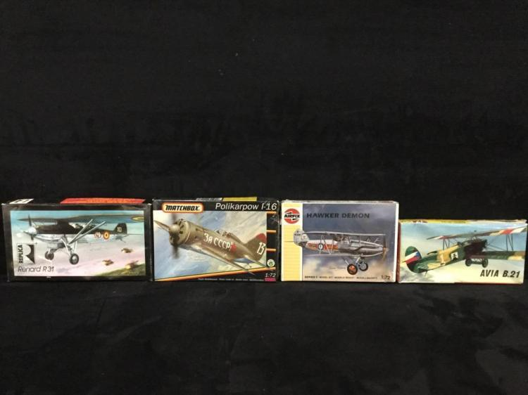 4 military fighter model airplane kits-(Airfix, Machbox, Replica)