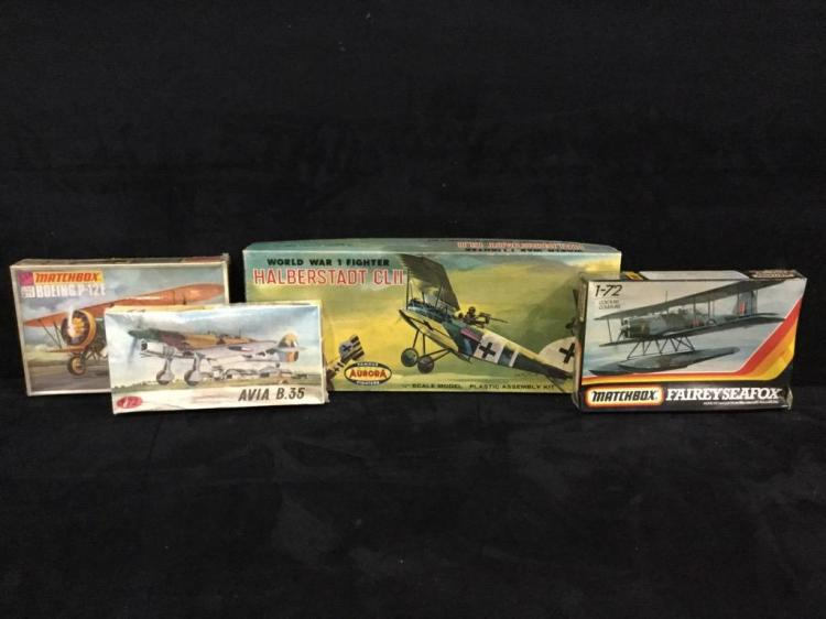 4 plastic model airplane kits-(Matchbox, Aurora, Plastikovy)