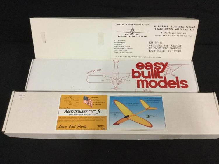 3 model airplane kits (Easy Built Models, Diels Engineering)