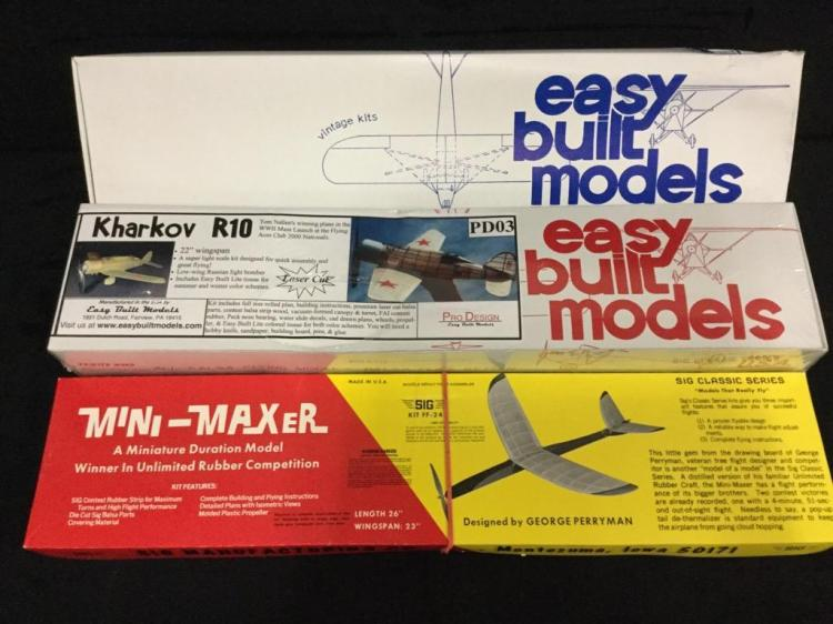 2 Easy Built Models model airplane kits and 1 Mini-Maxer model airplane kit