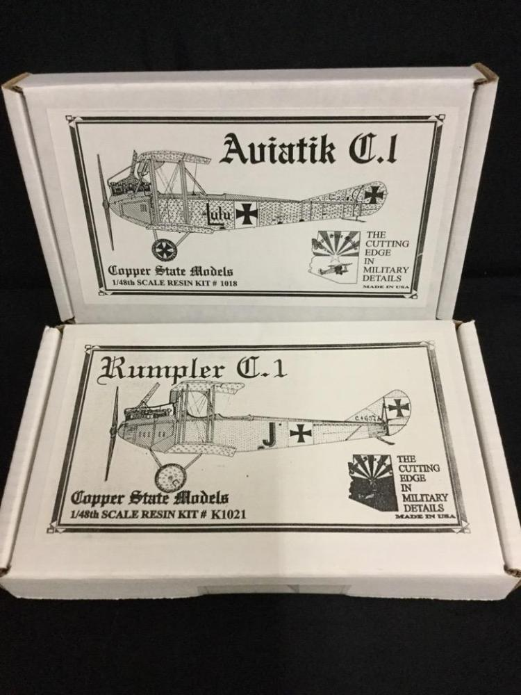 1 Aviatik C.I and 1 Rumpler C.I model kits-(Copper State Models)