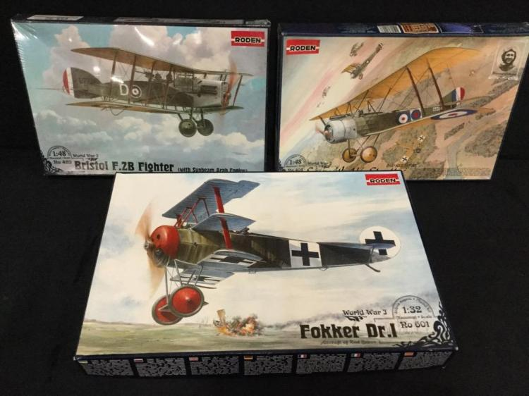 3 Roden World War 1 fighter model airplane kits