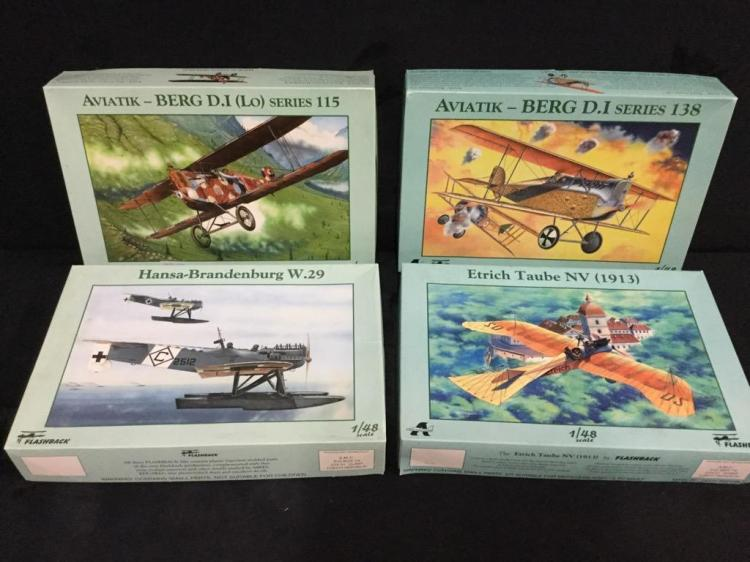 2 Aviatik model airplane kits and 2 Flashback model airplane kits
