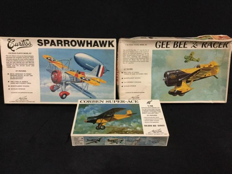 2 1:32 scale plastic model airplane kits and 1:48 plastic model airplane kits