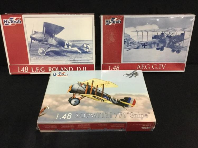 3 Hi-Tech 1:48 scale model airplane kits